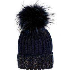 Giamo - Czapka. Niebieskie czapki zimowe damskie Giamo, na zimę, z dzianiny. W wyprzedaży za 149,90 zł.