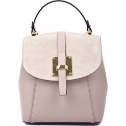 Plecaki damskie: Skórzany plecak w kolorze pudrowym – (S)24 x (W)22 x (G)11 cm