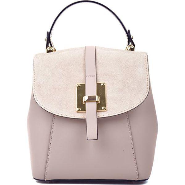 f3297a1a50437 Skórzany plecak w kolorze pudrowym - (S)24 x (W)22 x (G)11 cm ...