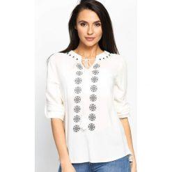 Bluzki asymetryczne: Biała Bluzka Ethno Style