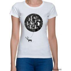 Koszulka damska. I love to the you & back. Szare bluzki z odkrytymi ramionami Pakamera, z nadrukiem. Za 79,00 zł.
