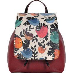"""Plecaki damskie: Plecak """"Chirpy"""" w kolorze czerwonym ze wzorem – 23 x 27 x 12 cm"""