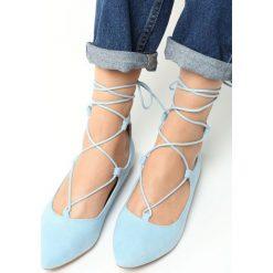 Baleriny damskie lakierowane: Niebieskie Balerinki Sweet Gabriel