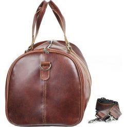CORTEZ Koniakowa męska torba ze skóry Podróżna smooth leather. Szare torby na ramię męskie marki Brødrene, ze skóry, duże. Za 750,00 zł.