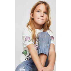 Mango Kids - Top dziecięcy Superpop 110-164 cm. Szare bluzki dziewczęce bawełniane Mango Kids, z nadrukiem, z okrągłym kołnierzem, z krótkim rękawem. W wyprzedaży za 29,90 zł.
