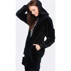 Czarna Bluza Fluorescent. Czarne bluzy z kapturem damskie Born2be, l, z długim rękawem, długie. Za 74,99 zł.