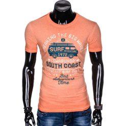 T-SHIRT MĘSKI Z NADRUKIEM S890 - POMARAŃCZOWY. Brązowe t-shirty męskie z nadrukiem marki Ombre Clothing, m. Za 39,00 zł.