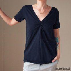 Bluzki asymetryczne: Czarna dwustronna bluzka S-XL