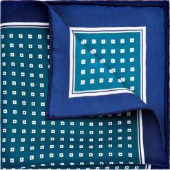 Poszetka zielona. Zielone poszetki męskie LANCERTO, w geometryczne wzory, z jedwabiu, klasyczne. Za 99,90 zł.