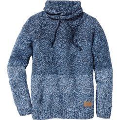 Sweter z szalowym kołnierzem Slim Fit bonprix niebieski melanż. Niebieskie swetry klasyczne męskie marki bonprix, l, z aplikacjami. Za 69,99 zł.