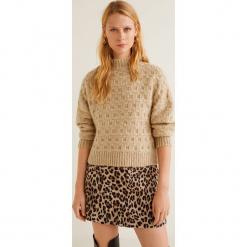 Mango - Sweter Chess. Brązowe swetry klasyczne damskie Mango, l, z dzianiny. Za 159,90 zł.