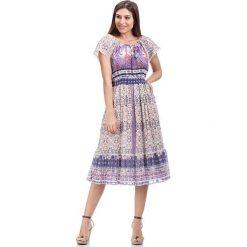 Sukienki hiszpanki: Sukienka w kolorze kremowo-fioletowym