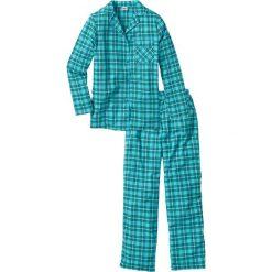 Piżamy damskie: Piżama flanelowa bonprix niebieskozielony w kratę