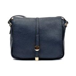 Torebki klasyczne damskie: Skórzana torebka w kolorze granatowym – (S)21 x (W)25 x (G)6 cm