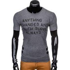 T-SHIRT MĘSKI Z NADRUKIEM S986 - GRAFITOWY. Czarne t-shirty męskie z nadrukiem marki Ombre Clothing, m, z bawełny, z kapturem. Za 29,00 zł.