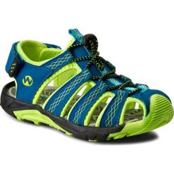 Sandały męskie skórzane: Sandały WALKY – CP44-5032 Kolorowy Niebieski