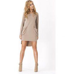 Cappuccino Dresowa Asymetryczna Sukienka z dużymi kieszeniami. Szare długie sukienki marki bonprix, melanż, z dresówki, z kapturem, z długim rękawem. Za 83,90 zł.