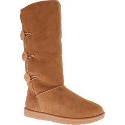 """Kozaki """"Flora"""" w kolorze jasnobrązowym. Czarne buty zimowe damskie marki Kazar, z futra, przed kolano, na wysokim obcasie, na koturnie. W wyprzedaży za 163,95 zł."""