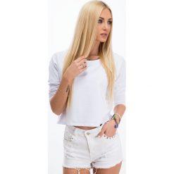 Biała bluzka z cekinową aplikacją na plecach 1166. Białe bluzki z odkrytymi ramionami Fasardi, z aplikacjami, z dekoltem na plecach. Za 29,00 zł.