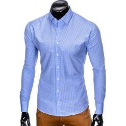 KOSZULA MĘSKA W KRATĘ Z DŁUGIM RĘKAWEM K426 - BŁĘKITNA/BIAŁA. Brązowe koszule męskie marki Ombre Clothing, m, z aplikacjami, z kontrastowym kołnierzykiem, z długim rękawem. Za 49,00 zł.