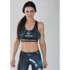 Biustonosze sportowe: Ground Game Sportswear Stanik Circles czarno-niebieski r. M (TOPCIRCLESM)