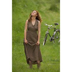 Sukienki: Brązowa długa sukienka len / L