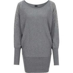 Sweter bonprix szary melanż. Szare swetry klasyczne damskie bonprix. Za 99,99 zł.