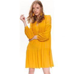 44e27e9a2b SUKIENKA MINI Z BUFIASTYMI RĘKAWAMI I KORONKĄ. Żółte sukienki damskie Top  Secret