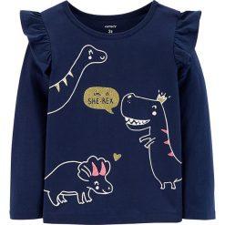 Koszulka w kolorze granatowym. Niebieskie bluzki dziewczęce bawełniane marki Carter's, z okrągłym kołnierzem, z długim rękawem. W wyprzedaży za 42,95 zł.