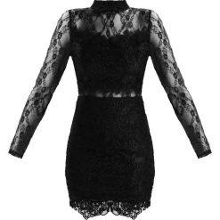 Sukienki: Missguided LACE HIGH NECK MINI WITH SHEER LACE INSERTS Sukienka koktajlowa black