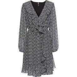 Sukienka kopertowa z falbanami bonprix czarno-biel wełny w kropki. Niebieskie sukienki z falbanami marki bonprix, z nadrukiem. Za 109,99 zł.