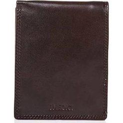 Portfele damskie: Skórzany portfel w kolorze ciemnobrązowym – 10 x 12,5 x 2 cm