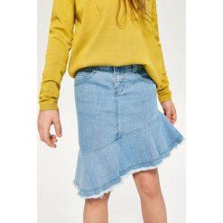 Jeansowa spódnica z falbaną - Niebieski. Niebieskie spódniczki dziewczęce jeansowe marki Reserved. W wyprzedaży za 29,99 zł.