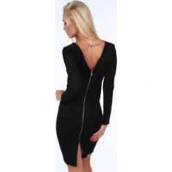 Sukienka ze złotym suwakiem czarna 1833. Czarne sukienki Fasardi, l. Za 84,00 zł.