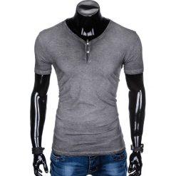 T-shirty męskie: T-SHIRT MĘSKI BEZ NADRUKU S894 - GRAFITOWY