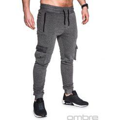 SPODNIE MĘSKIE DRESOWE P429 - GRAFITOWE. Szare joggery męskie Ombre Clothing, z bawełny. Za 35,00 zł.