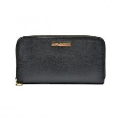 Skórzany portfel w kolorze czarnym - (S)20 x (W)11 x (G)2,5 cm. Czarne portfele damskie Akcesoria na sylwestrową noc, z materiału. W wyprzedaży za 119,95 zł.