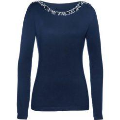 Sweter z aplikacją z perełek bonprix ciemnoniebieski. Niebieskie swetry klasyczne damskie bonprix. Za 119,99 zł.