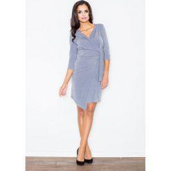 Sukienki: Szara Elegancka Sukienka z Wiązaniem