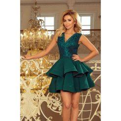 Sabrina - ekskluzywna sukienka z koronkowym dekoltem - ZIELONA. Zielone sukienki hiszpanki numoco, s, z koronki, rozkloszowane. Za 279,90 zł.