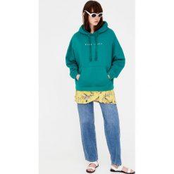 Bluza kangurka z kapturem. Szare bluzy męskie rozpinane marki Pull & Bear, okrągłe. Za 39,90 zł.