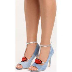 Niebieskie Sandały Red Lips. Czerwone rzymianki damskie Born2be, z aplikacjami, z denimu, na wysokim obcasie, na obcasie. Za 69,99 zł.