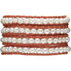 Bransoletki damskie: Skórzana bransoletka w kolorze pomarańczowo-białym z perłami słodkowodnymi