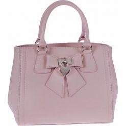 Torebki klasyczne damskie: Skórzana torebka w kolorze jasnoróżowym – 30 x 22 x 14 cm