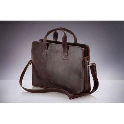 Klasyczna, brązowa męska torba na ramię Solier  DALARY. Brązowe torby na laptopa marki Solier, w paski, z materiału. Za 119,00 zł.