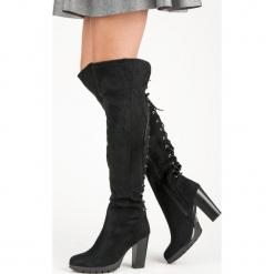 ZAMSZOWE KOZAKI NA SŁUPKU. Czarne buty zimowe damskie CM Paris, z zamszu, na słupku. Za 114,00 zł.