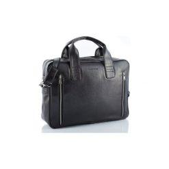 Czarna skórzana torba na ramię brodrene b02, Kolor wnętrza: Czarny. Czarne torby na ramię męskie marki Brødrene, w paski, ze skóry. Za 169,00 zł.