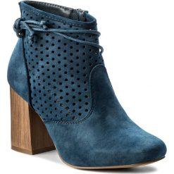 Botki JENNY FAIRY - WS17058 Granatowy. Niebieskie buty zimowe damskie Jenny Fairy, z materiału, na obcasie. W wyprzedaży za 99,99 zł.