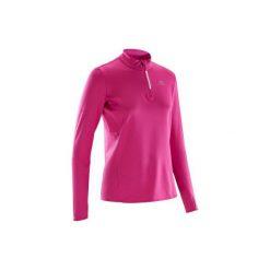 Bluza biegania RUN WARM damska. Niebieskie długie bluzy damskie marki KALENJI, z elastanu, z krótkim rękawem. Za 34,99 zł.
