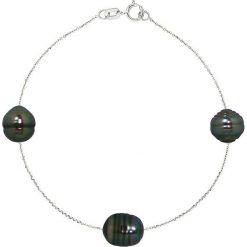Bransoletki damskie na nogę: Złota bransoletka z perłami tahiti
